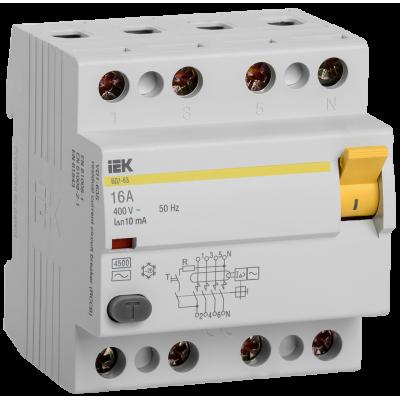 Выключатель дифференциальный ВД1-63 (УЗО) 4Р 25А 30мА ИЭК (Арт: MDV10-4-025-030)