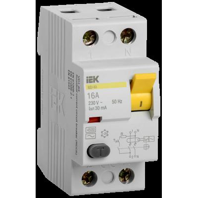 Выключатель дифференциальный  ВД1-63 (УЗО) 2Р 25А 30мА ИЭК (Арт: MDV10-2-025-030)