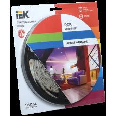 Лента LED 5м  блистер LSR-3528RGB54-4.8-IP65-12V полноцветная IEK-eco