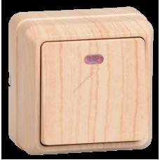 ВС20-1-1-ОС Выключатель 1кл с инд. 10А откр.уст. ОКТАВА (сосна) (Арт: EVO11-K03-10-DC)