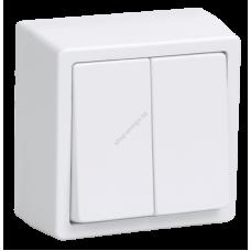 ВС20-2-0-ББ Выключатель двухклавишный для открытой установки (Арт: EVB20-K01-10-DC)