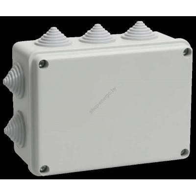 Коробка КМ41242   распаячная для о/п 150*110*70мм IP55 (RAL7035,10 гермовводов) (Арт: UKO10-150-110-070-K41-55)