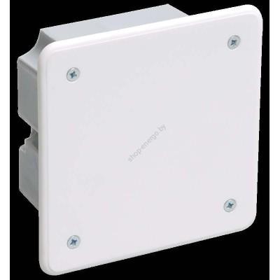 Коробка КМ41001  распаячная для тв. стен d92*92*45 мм ( с саморезами, с крышкой) (Арт: UKT11-092-092-040)