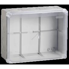 Коробка КМ41276 распаячная для о/п 240х195х90 мм IP55 (RAL7035, прозр. кр., кабельные ввод (Арт: UKO10-240-195-090-K51-55)