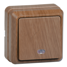 ВС20-1-1-ОД Выключатель 1кл с инд. 10А откр.уст. ОКТАВА (дуб) (Арт: EVO11-K04-10-DC)