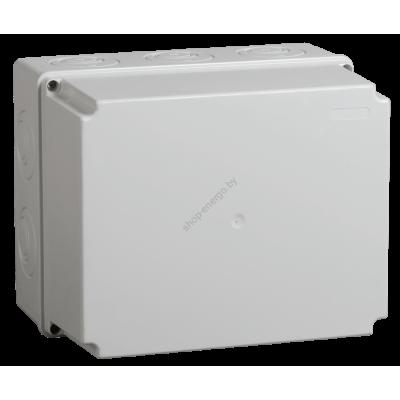 Коробка КМ41344 распаячная для о/п 240х195х165 мм IP55 (RAL7035, монт. плата, кабельные вв (Арт: UKO10-240-195-165-K52-55)