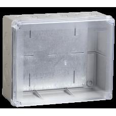Коробка КМ41346 распаячная для о/п 240х195х90 мм IP55 (RAL7035, прозр. кр., монт. плата, к (Арт: UKO10-240-195-090-K53-55)