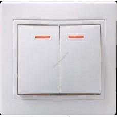 ВС10-2-1 - КБ Выключатель 2кл с инд.  10А КВАРТА (белый) (Арт: EVK21-K01-10-DM)