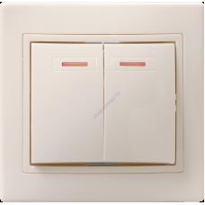 ВС10-2-1 - ККм  Выключатель 2кл с инд.  10А КВАРТА (кремовый) (Арт: EVK21-K33-10-DM)