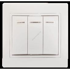 ВС10-3-1-ККм Выключатель 3кл с инд. 10А КВАРТА (кремовый) (Арт: EVK31-K33-10-DM)
